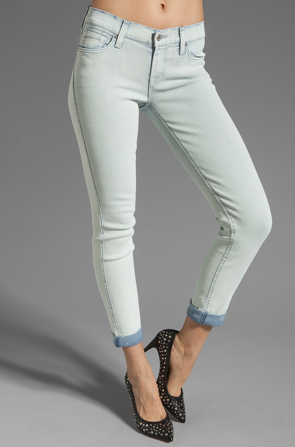 7 For All Mankind The Slim Cigarette in White Washed Denim