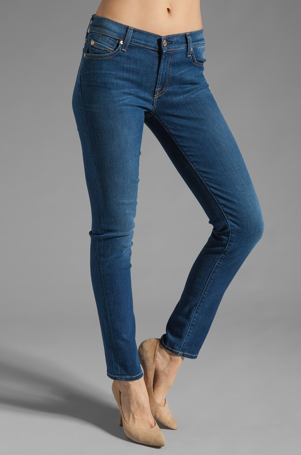 7 For All Mankind The Slim Cigarette in Light Blue Stretch