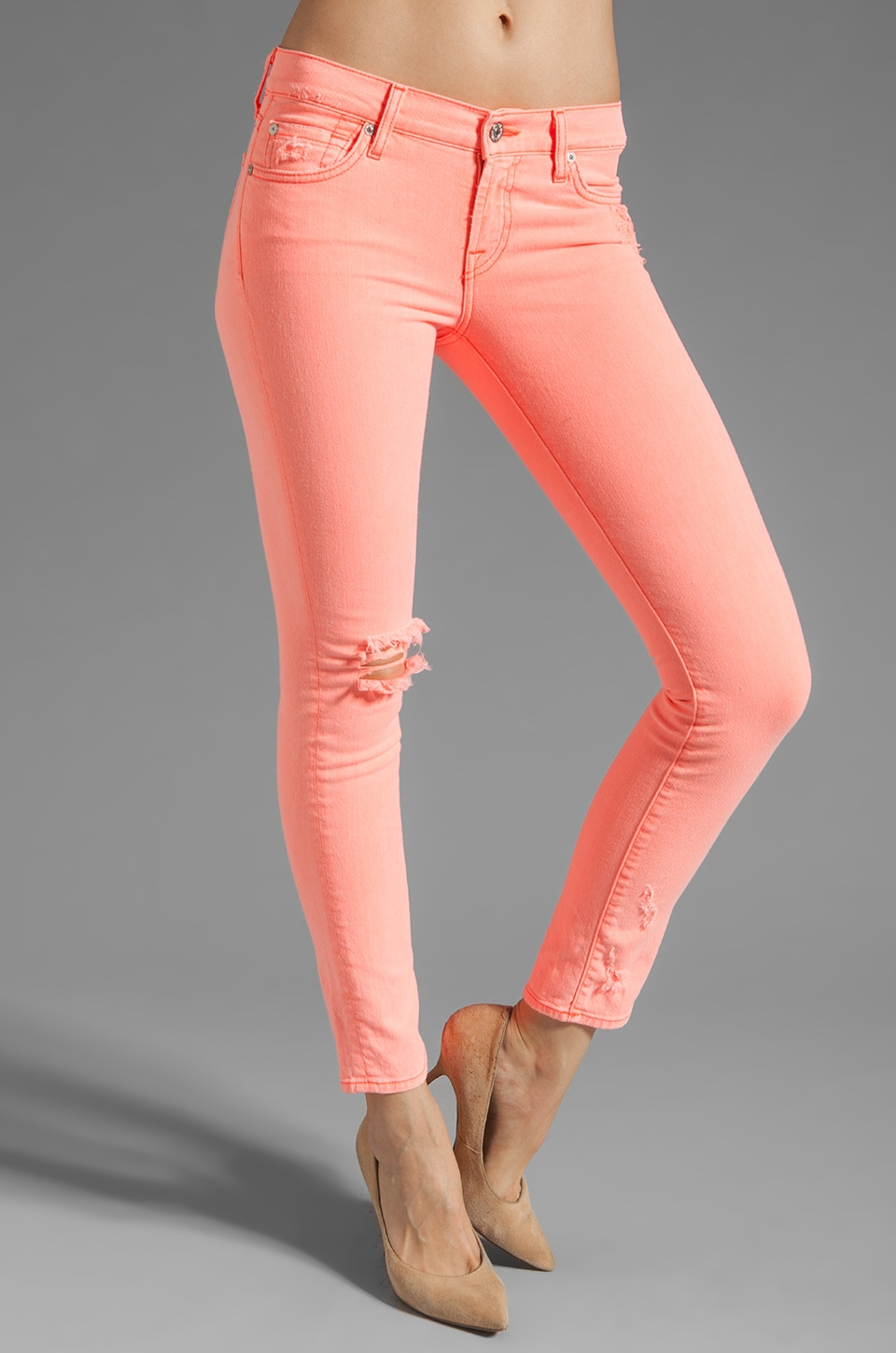 7 For All Mankind The Slim Cigarette in Neon Coral Destroyed