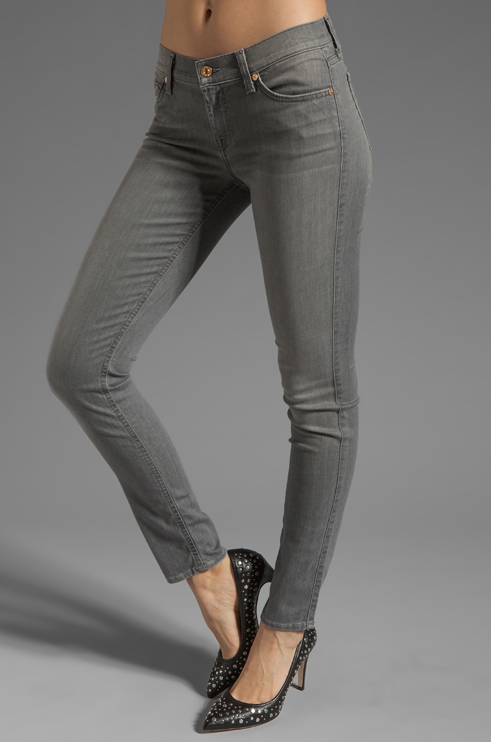 7 For All Mankind The Slim Cigarette in Silver Grey
