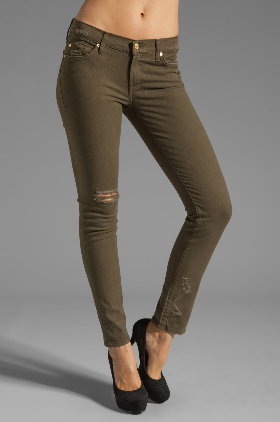 7 For All Mankind The Slim Cigarette in Army Green Destroyed