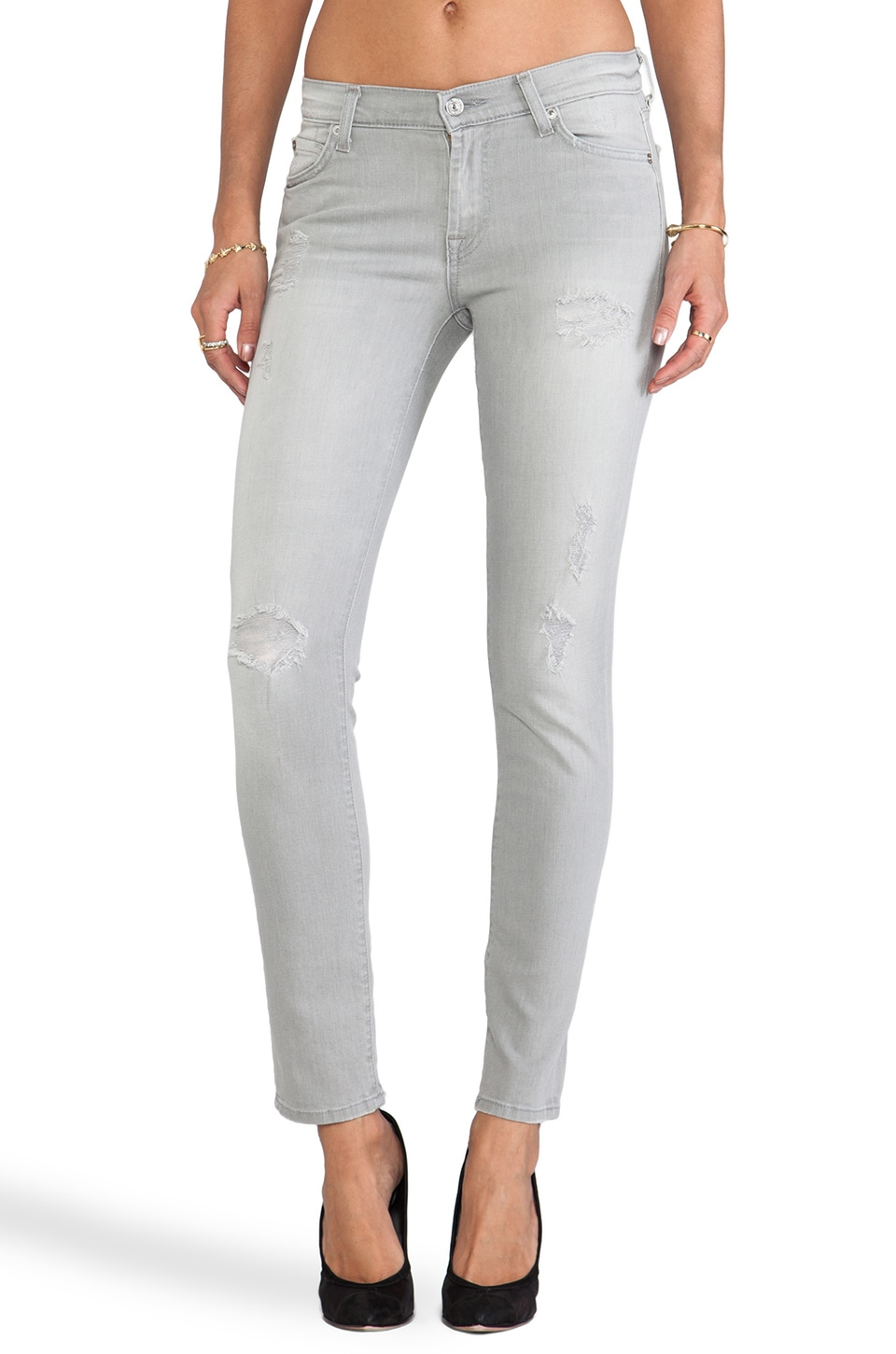 7 For All Mankind The Slim Cigarette in Light Grey Destroy