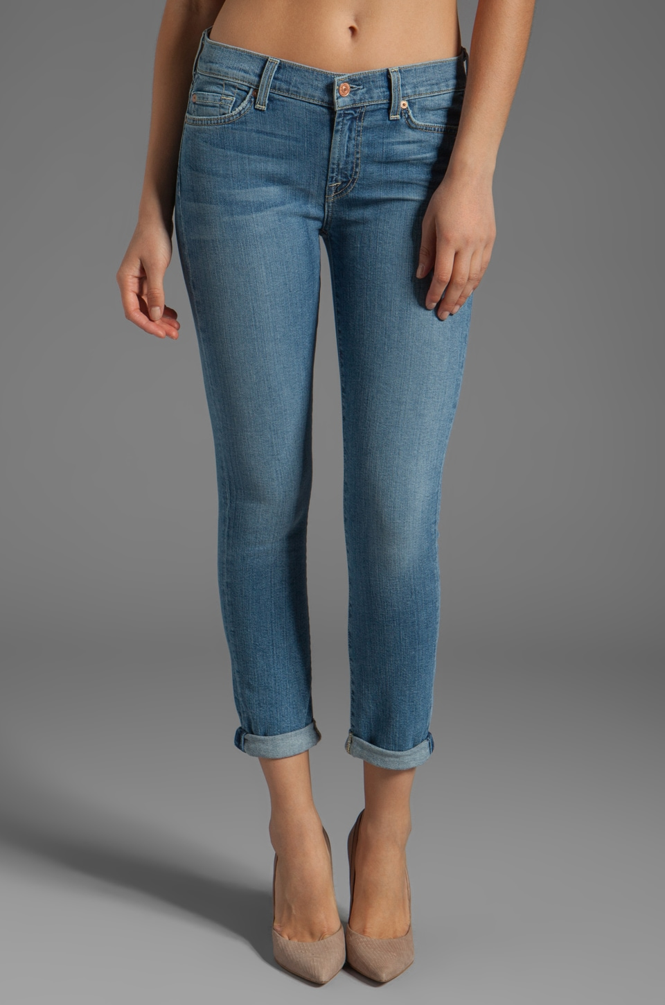 7 For All Mankind The Skinny Crop and Roll in Summer Canyon Mountain