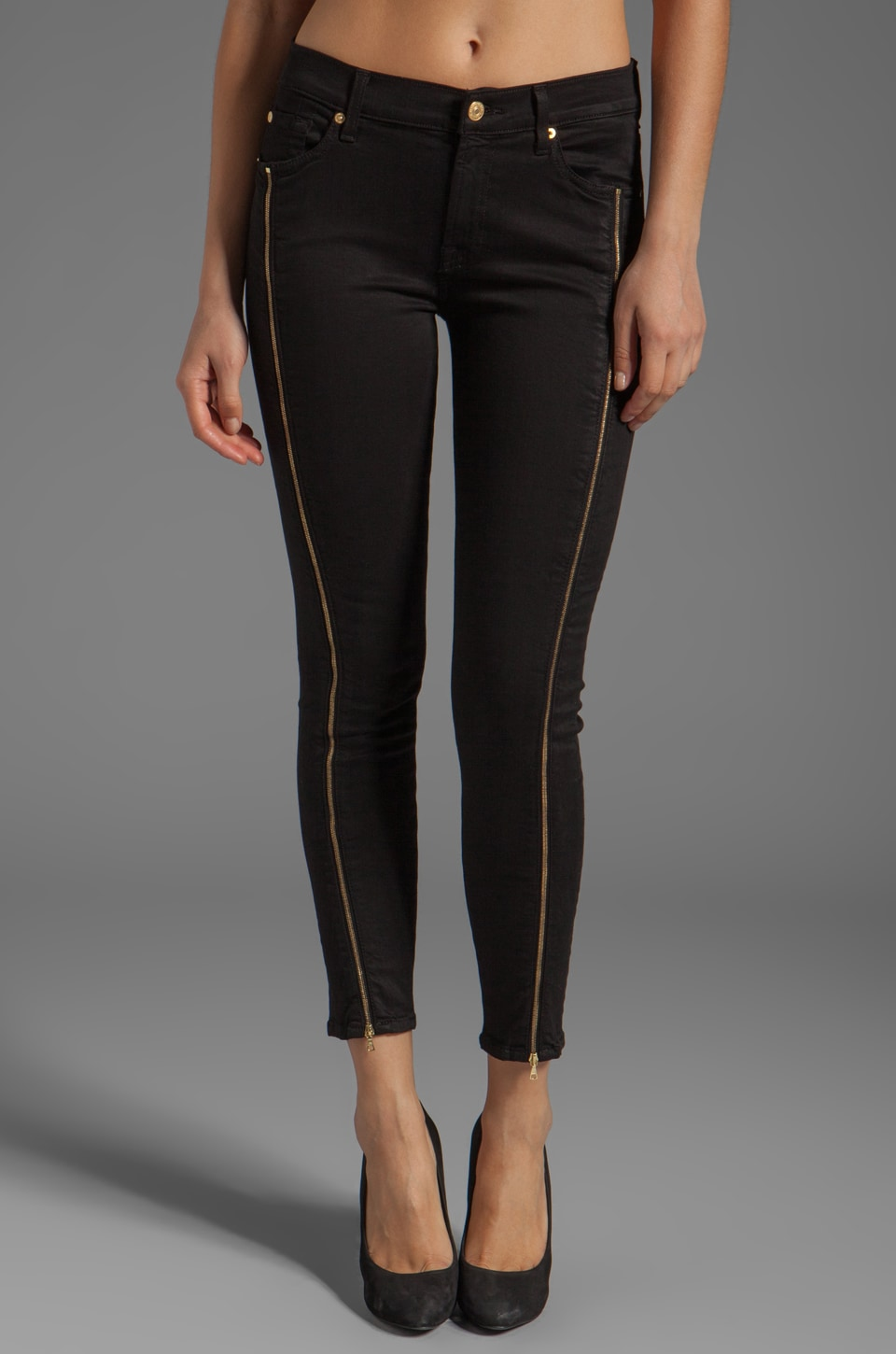7 For All Mankind The Cropped Skinny with Side Zips in Black