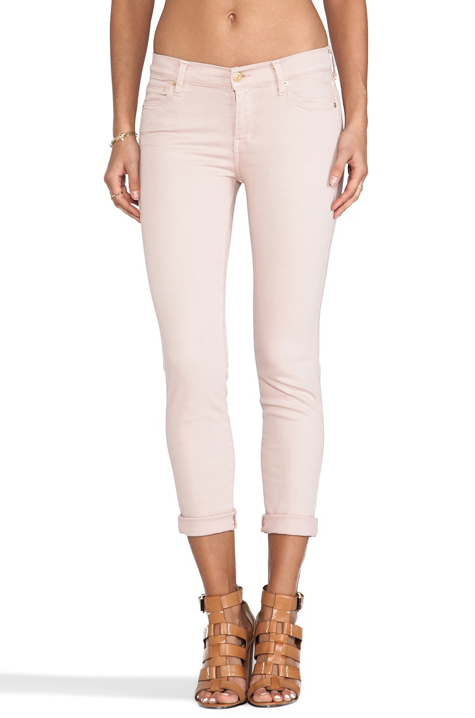 7 For All Mankind Slim Straight in Misty Rose