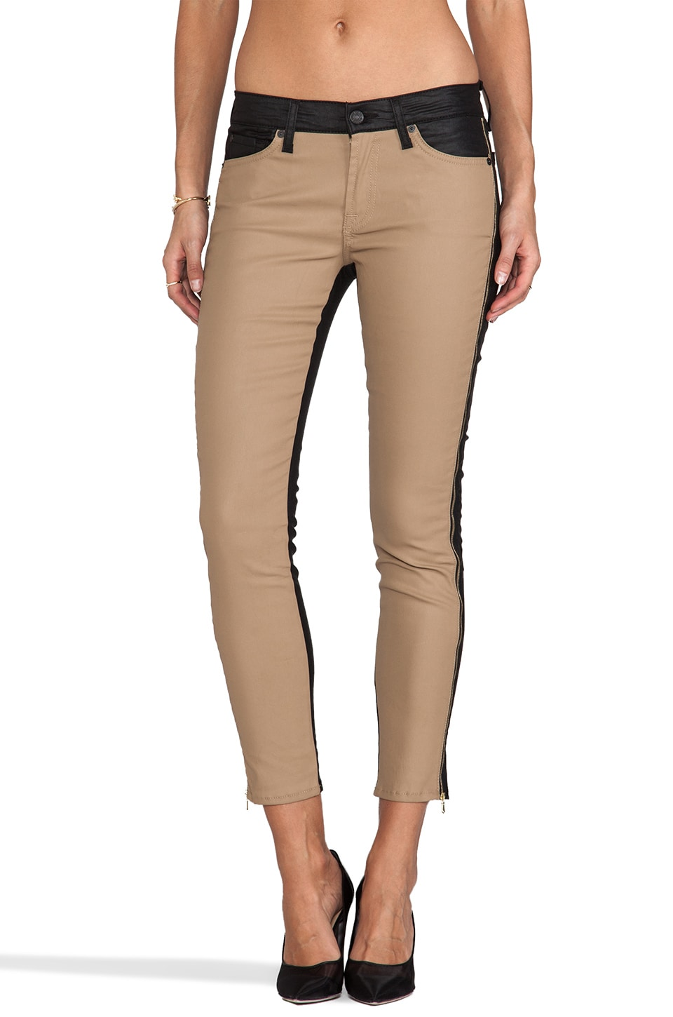 7 For All Mankind Pieced Cropped Skinny in Black/Khaki Piecing