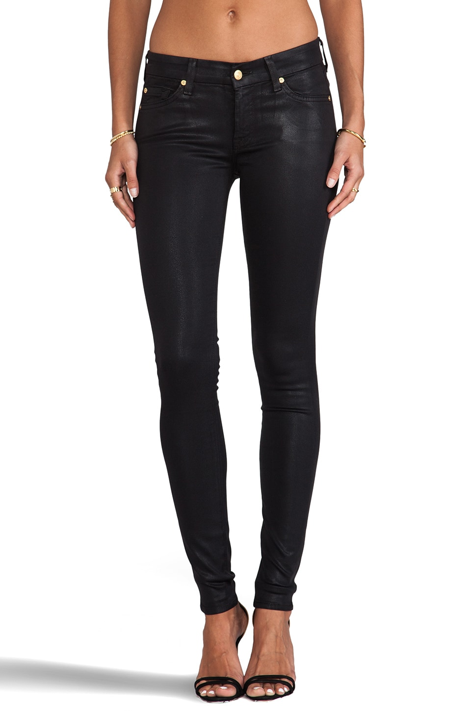 7 For All Mankind The High Gloss Skinny in High Shine Black
