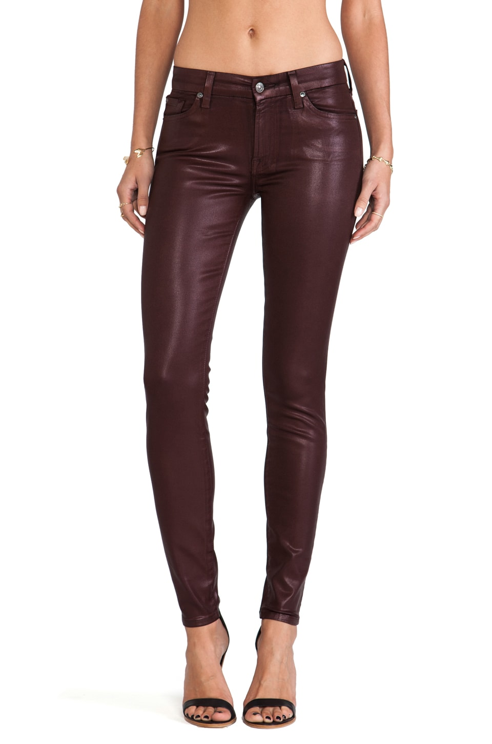 7 For All Mankind The High Gloss Skinny in Garnet