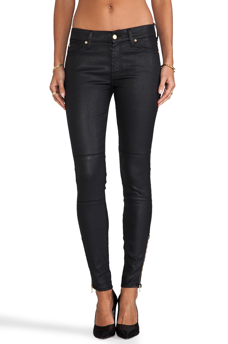 7 For All Mankind The Seamed Skinny w/ Ankle Zips in Black