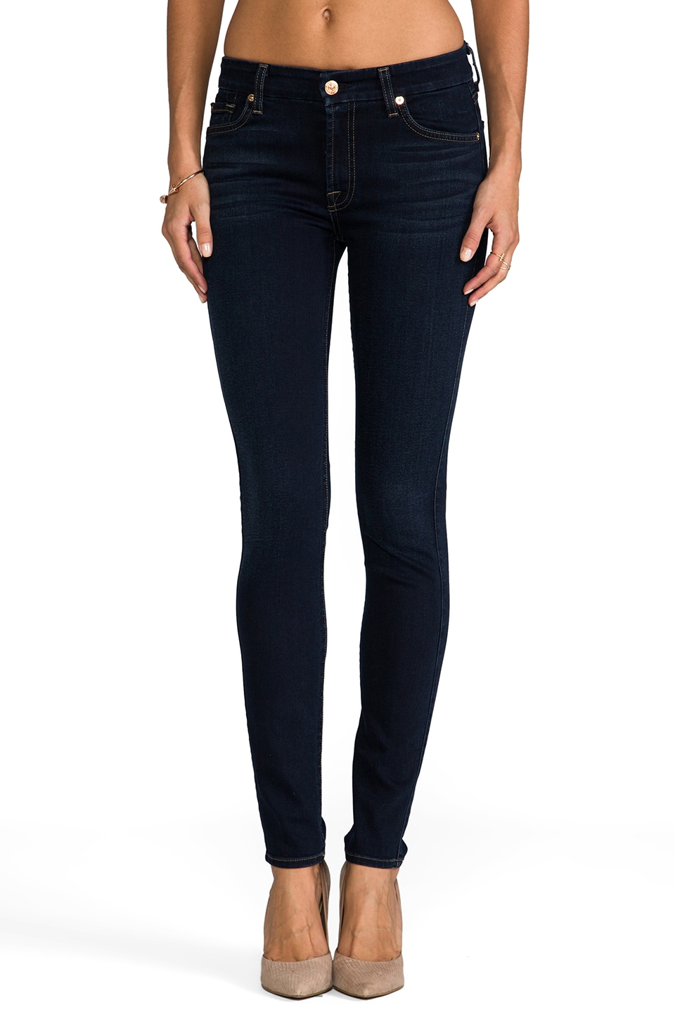 7 For All Mankind Mid Rise Skinny in Slim Illusion Red Cast
