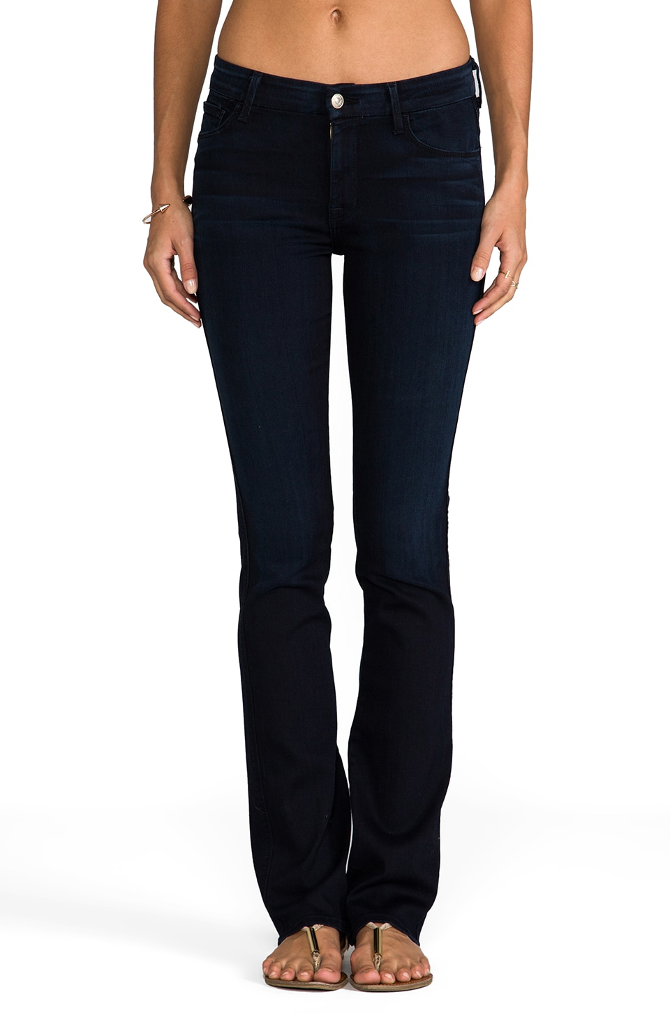 7 For All Mankind The Skinny Bootcut in Black Weft Dark Blue