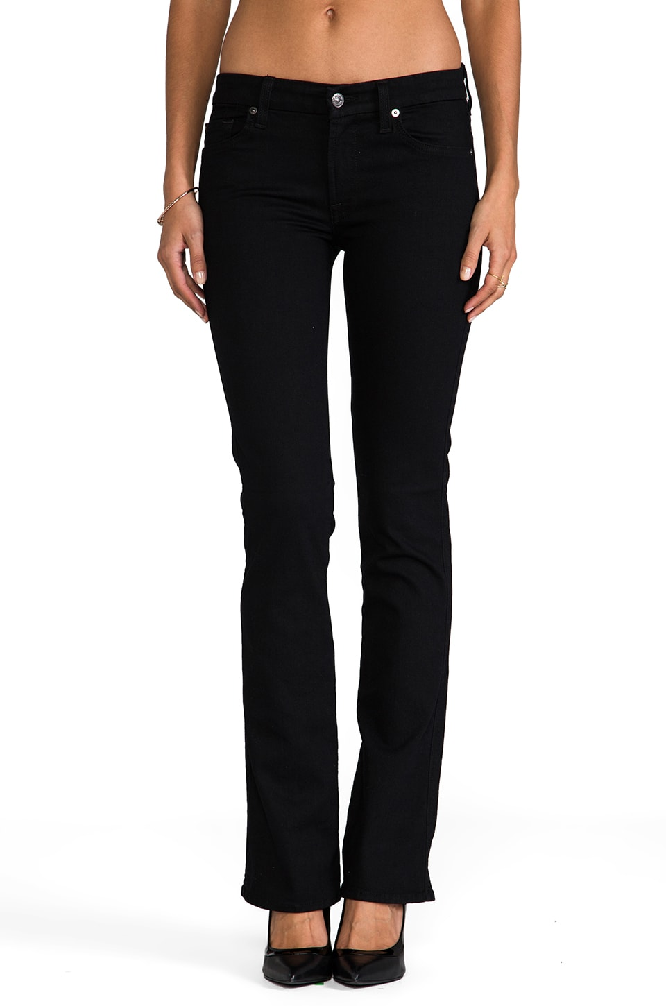 7 For All Mankind The Skinny Bootcut in Second Skin Slim Illusion Elasticity Black