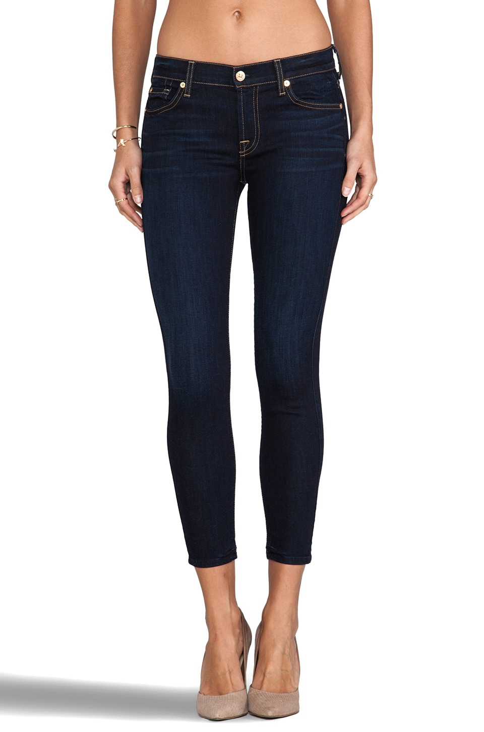 7 For All Mankind Cropped Skinny in Slim Illusion Classic Dark Blue