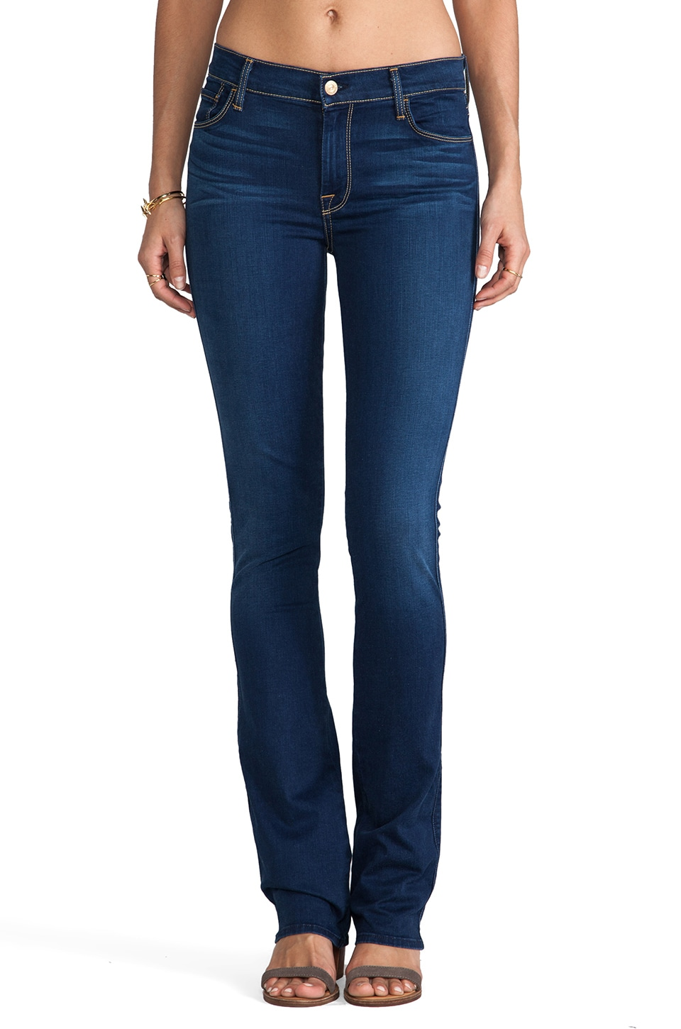 7 For All Mankind Skinny Boot cut in Bright Blue Sateen