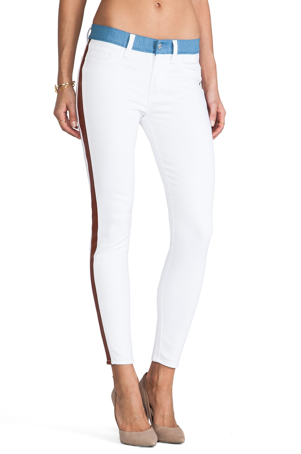7 For All Mankind Ankle Skinny in White & Cognac Trim