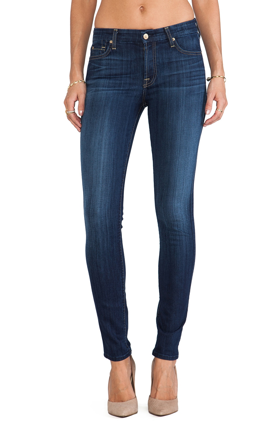 7 For All Mankind The Mid Rise Skinny in Slim Illusion Malibu Coast