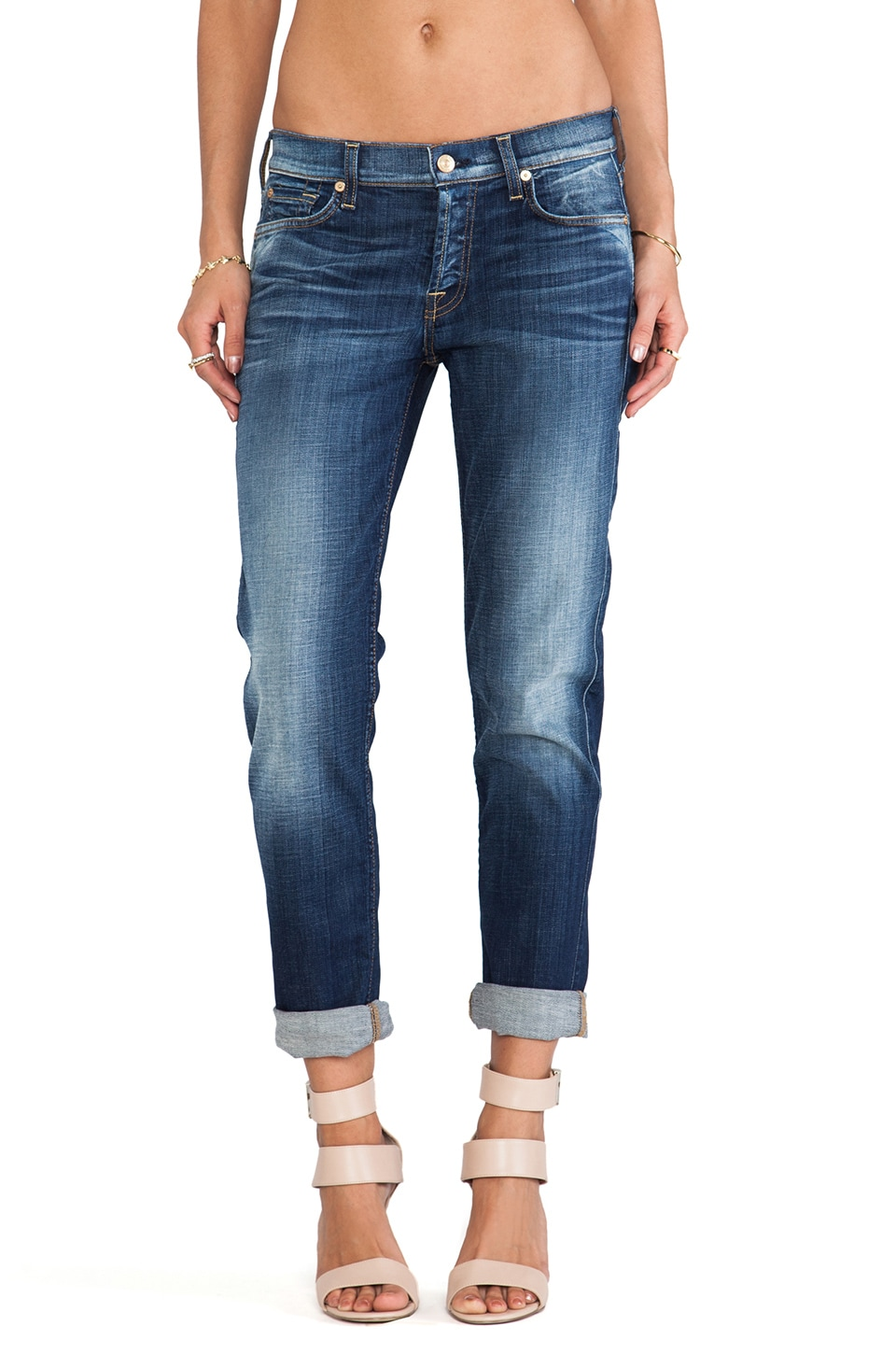 7 For All Mankind Josefina w/ Rolled Hem in Aggressive Heritage Blue