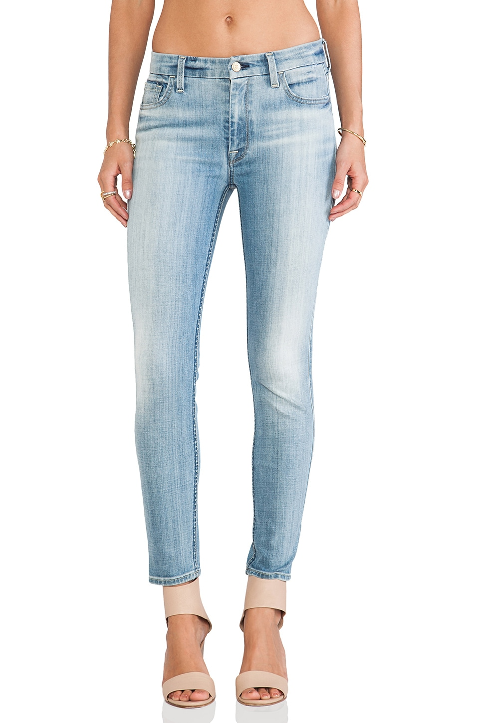 7 For All Mankind High Waist Ankle Skinny in Slim Illusion Faded Blue