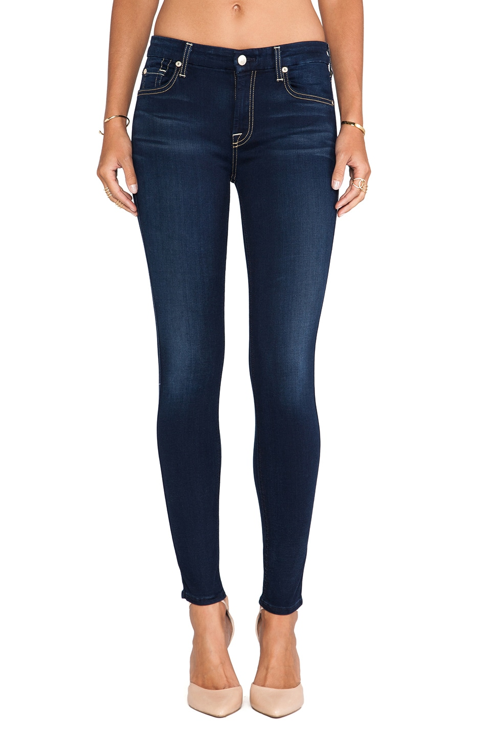 7 For All Mankind Mid Rise Ankle Skinny in Slim Illusion Luxe Night Blue