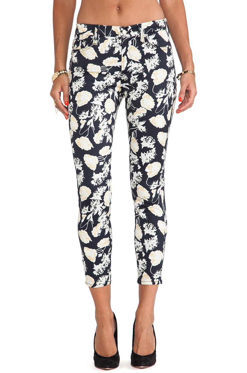 7 For All Mankind The Cropped Skinny in Black Floral Print