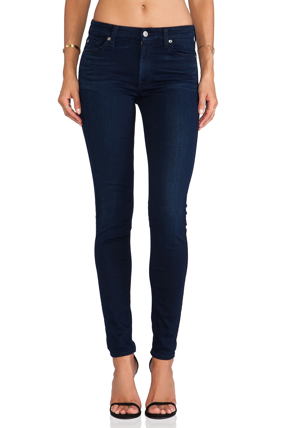 7 For All Mankind The Midrise Skinny with Contour in Slim Illusion Luxe Rich Blue