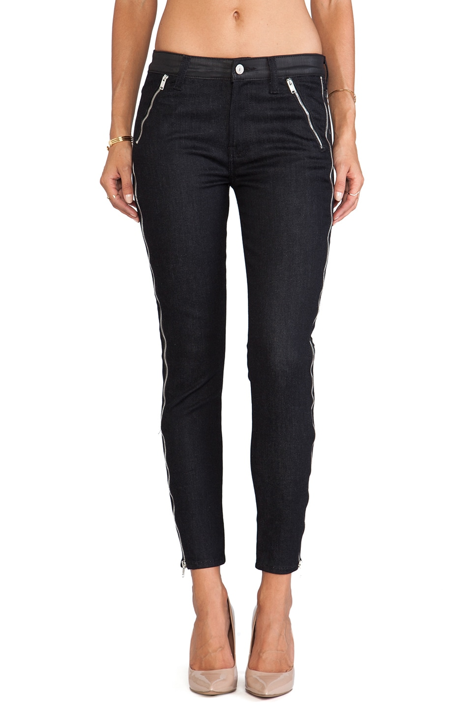 7 For All Mankind The Skinny w/ Long Side & Slant Zips in Jeather & Black Denim