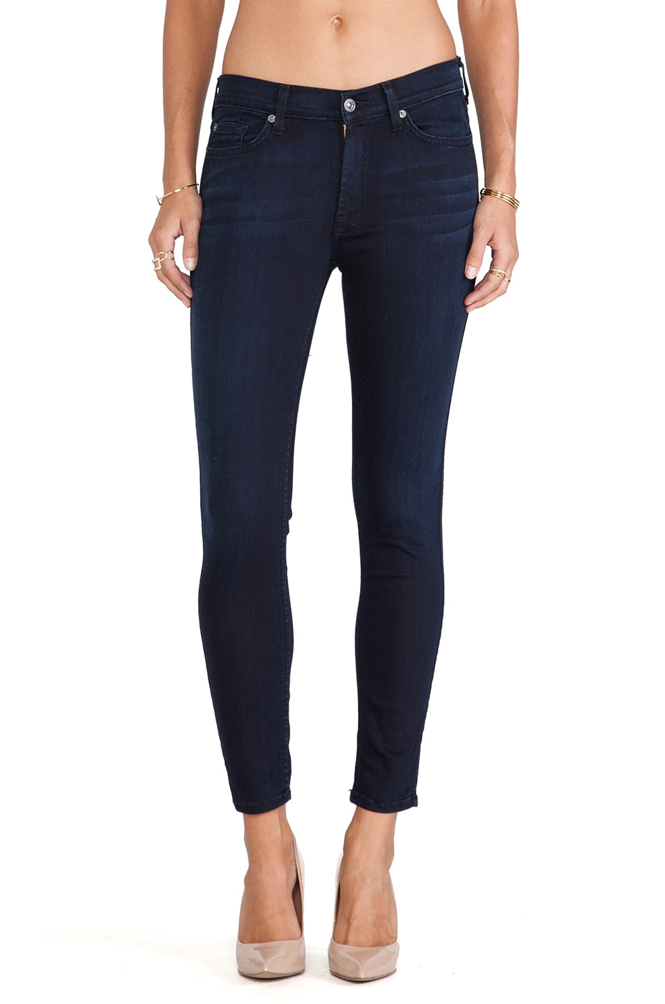 7 For All Mankind The Ankle Skinny in Lilah Blue Black