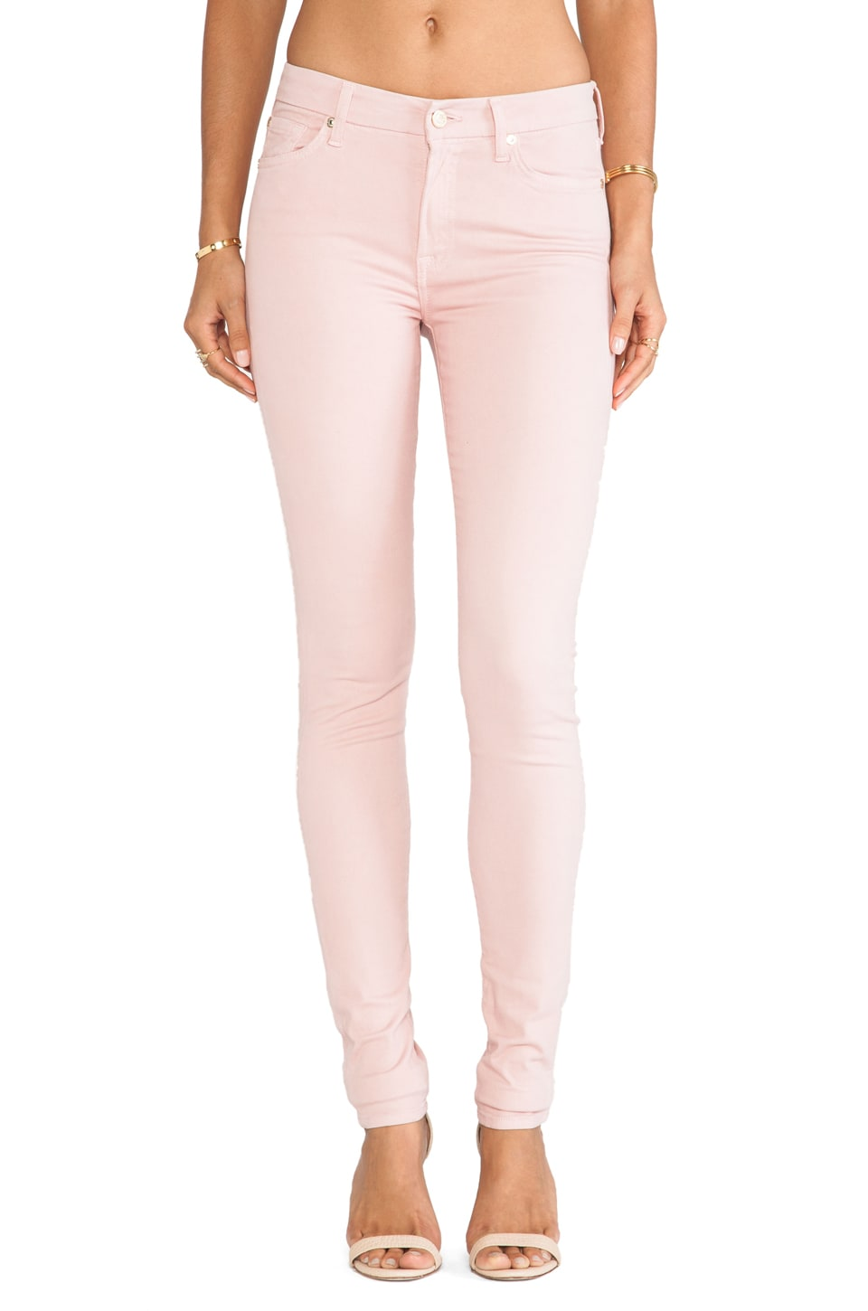 7 For All Mankind Contour Mid Rise Skinny in Blush Pink
