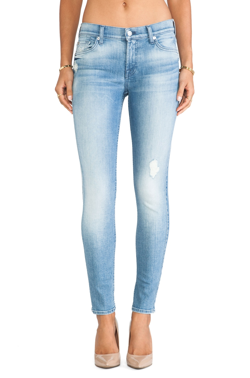 7 For All Mankind Knee Hole Ankle Skinny in Striking Light Indigo 2