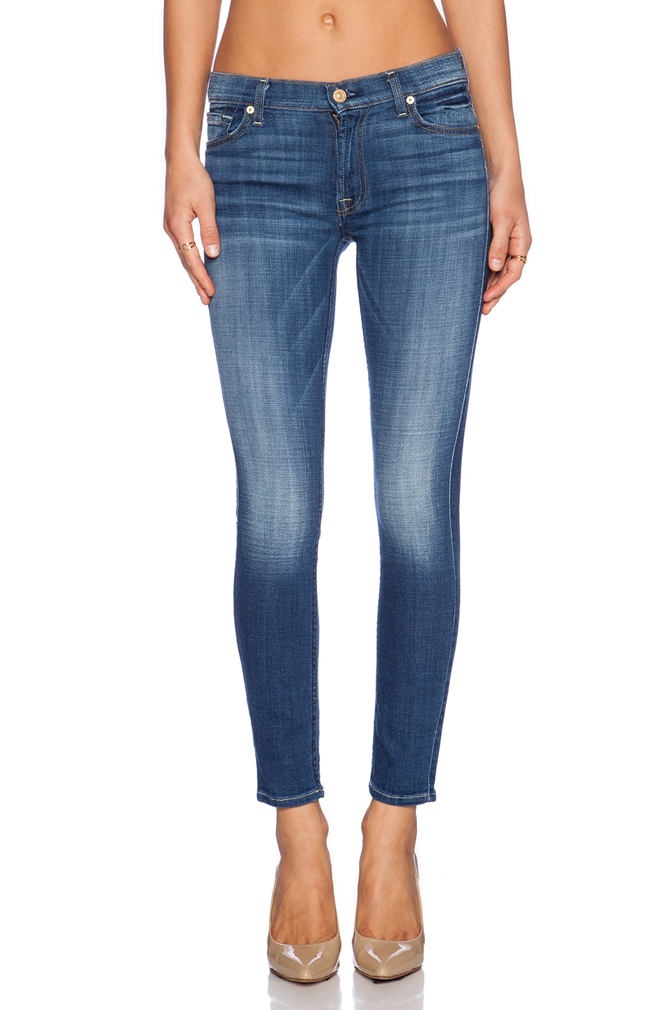 7 For All Mankind Ankle Skinny in Medium Broken Twill