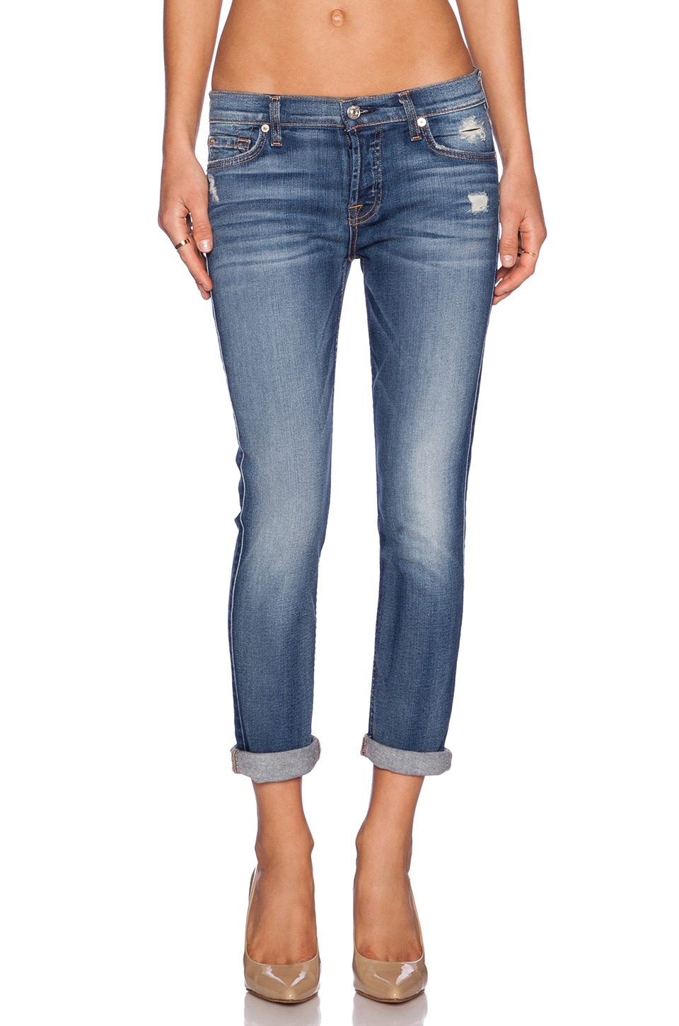 7 For All Mankind Josefina Boyfriend in Distressed Authentic Light