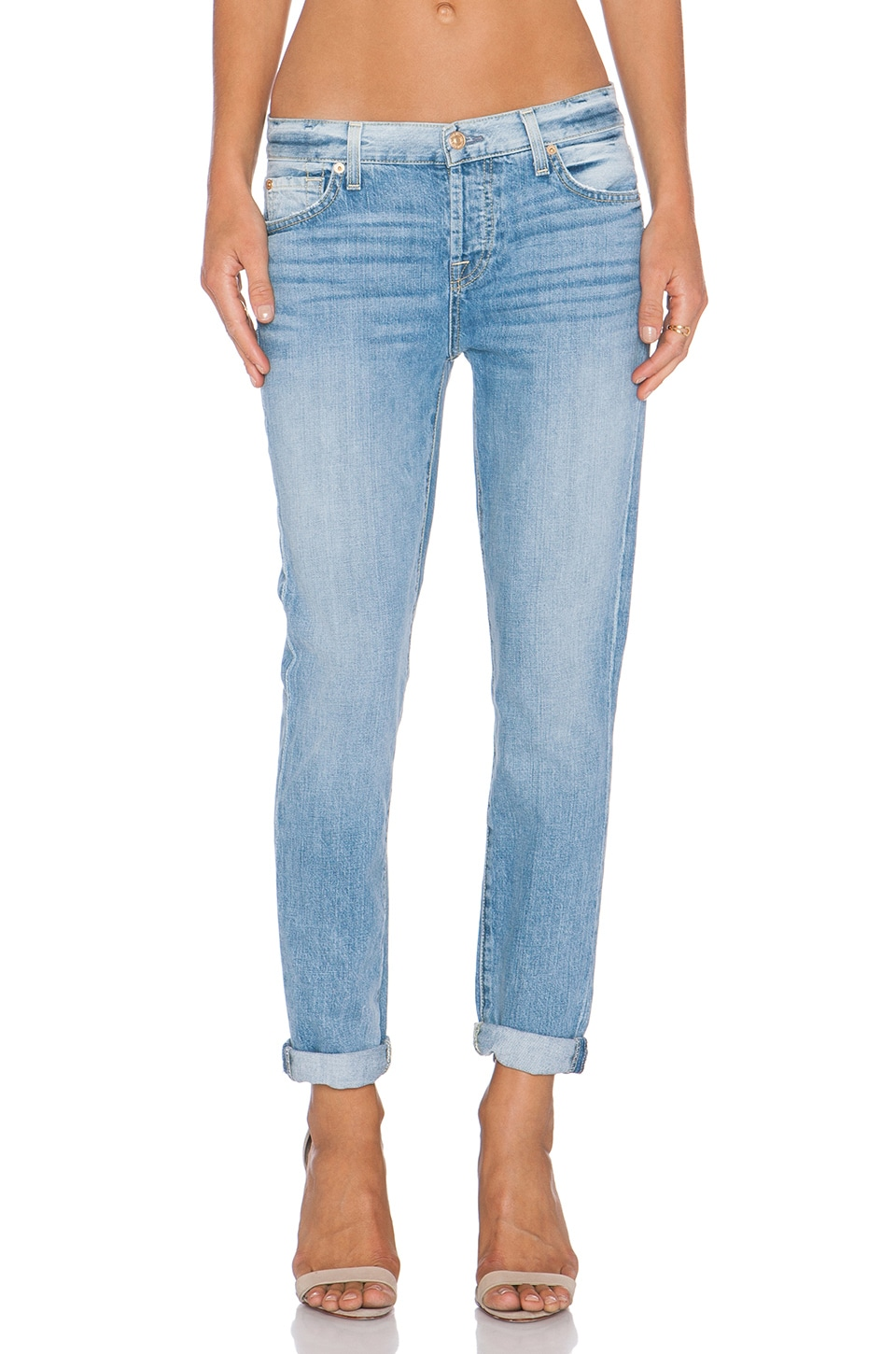 7 For All Mankind Josefina Distressed Boyfriend in Aura Blue Heritage