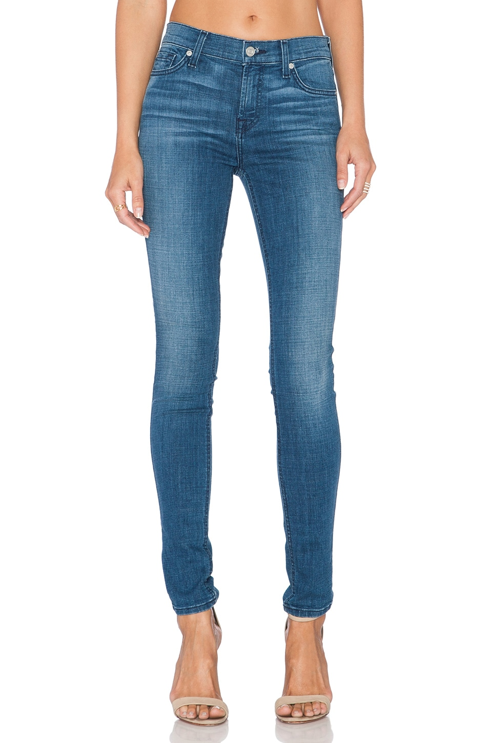 7 For All Mankind Mid Rise Skinny in Authentic Crisp Blue