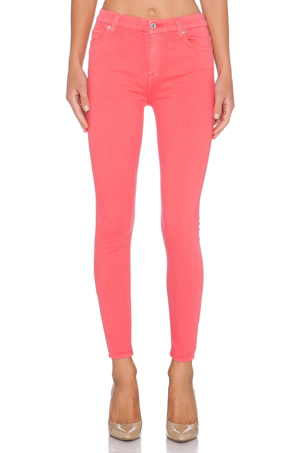 7 For All Mankind High Waist Ankle Skinny in Coral