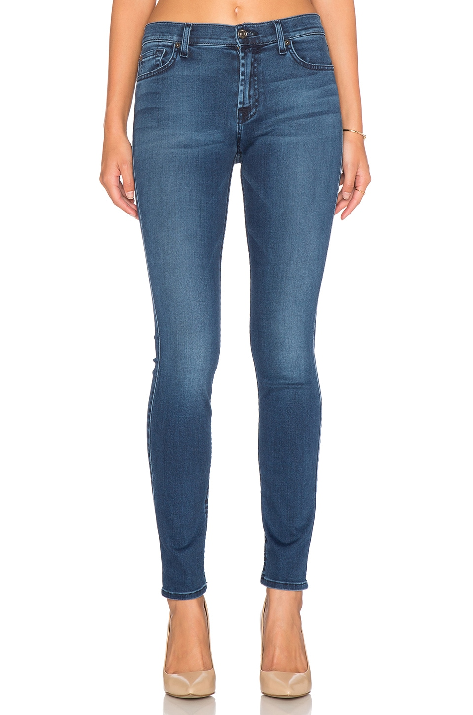 7 For All Mankind Tonal Squiggle Mid Rise Skinny in Pure Medium Vintage Sateen
