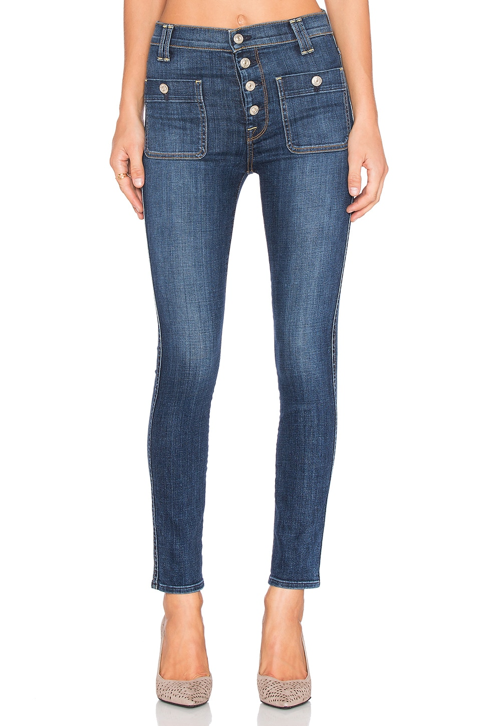 7 For All Mankind Exposed Button Skinny in La Palma 2