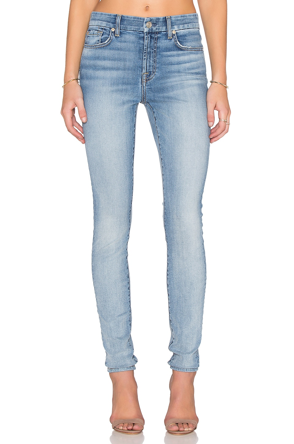 7 For All Mankind Mid Rise Skinny in Pretty Light Vintage