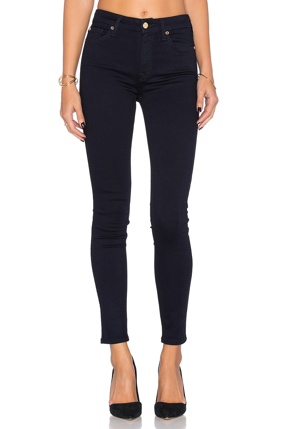 7 For All Mankind Mid Rise Ankle Skinny in Slim Illusion Luxe Rinse