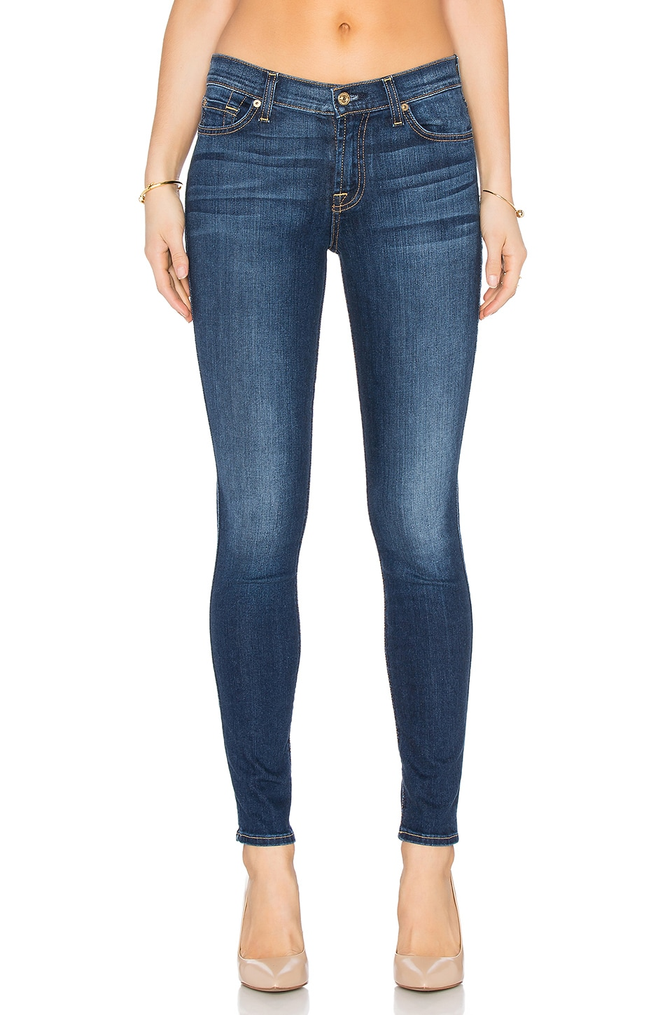 7 For All Mankind The Tonal Squiggle Skinny in Medium Timeless Blue