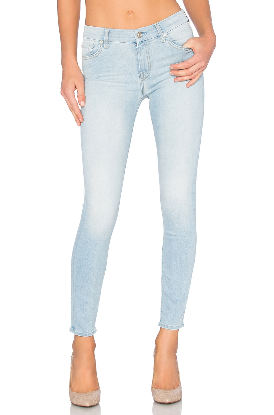 7 For All Mankind The Squiggle Ankle Skinny in Daylight Blue