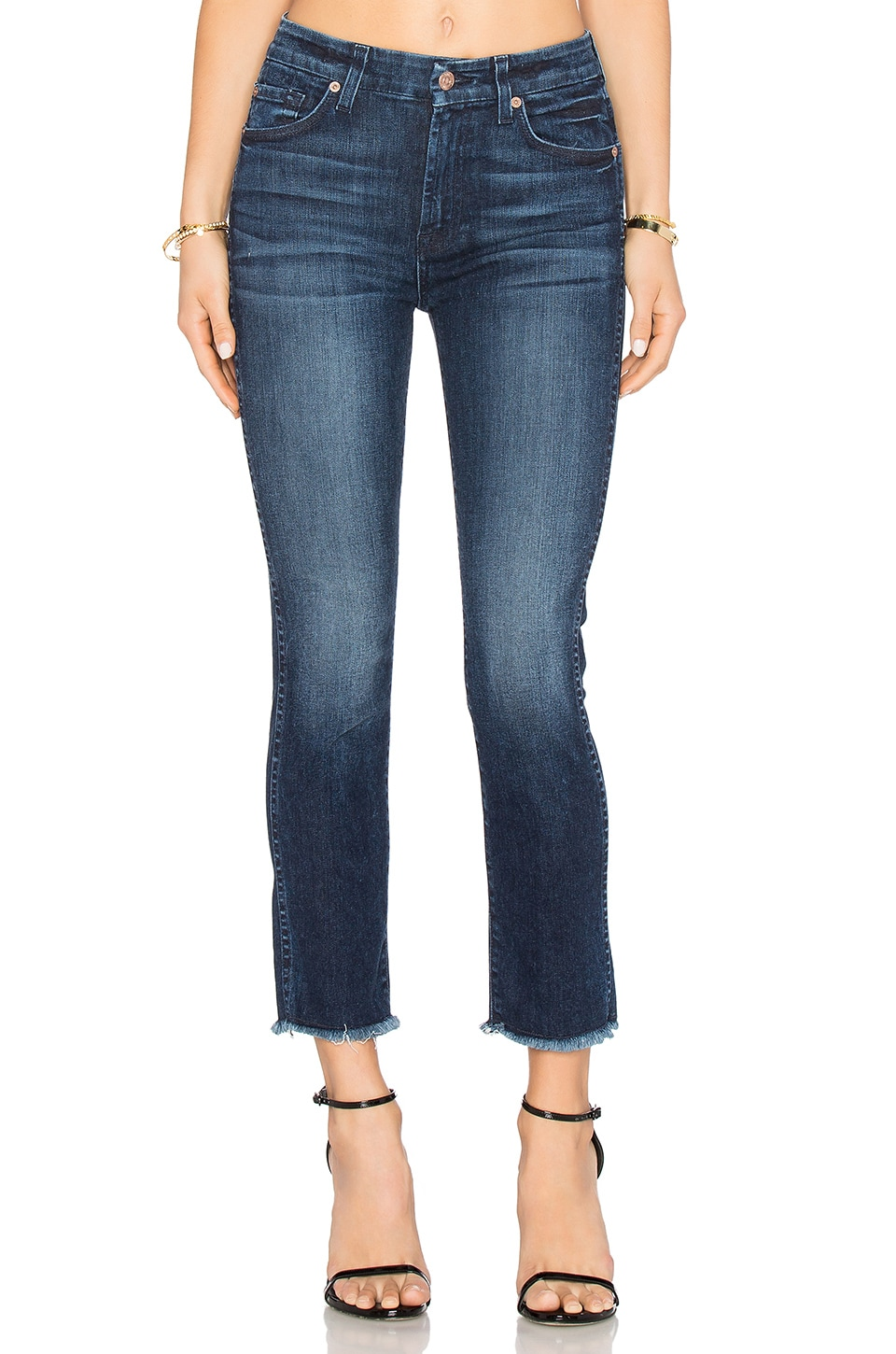 7 For All Mankind High Waist Ankle Straight in Acroplois Deep Sky ...