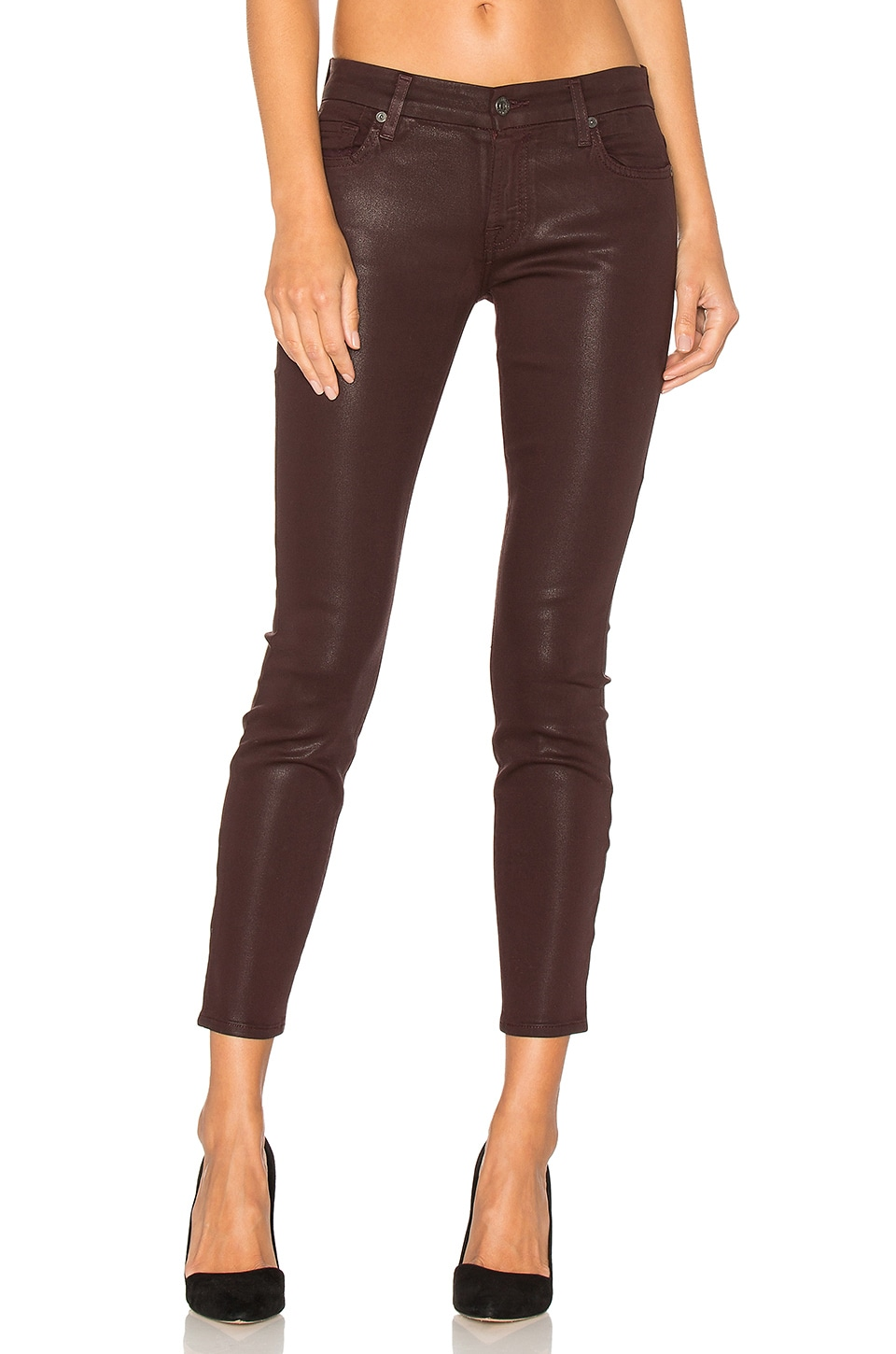 7 For All Mankind The Ankle Skinny in Plum Distressed