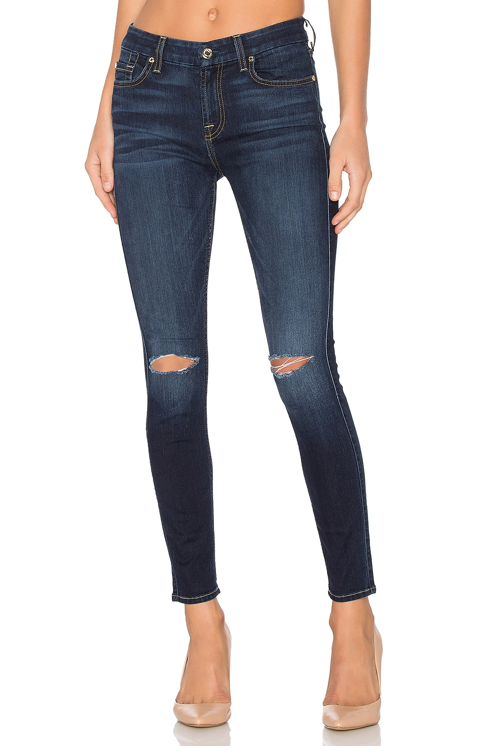 7 For All Mankind The Knee Slit Ankle Skinny in Dark Canterbury 2