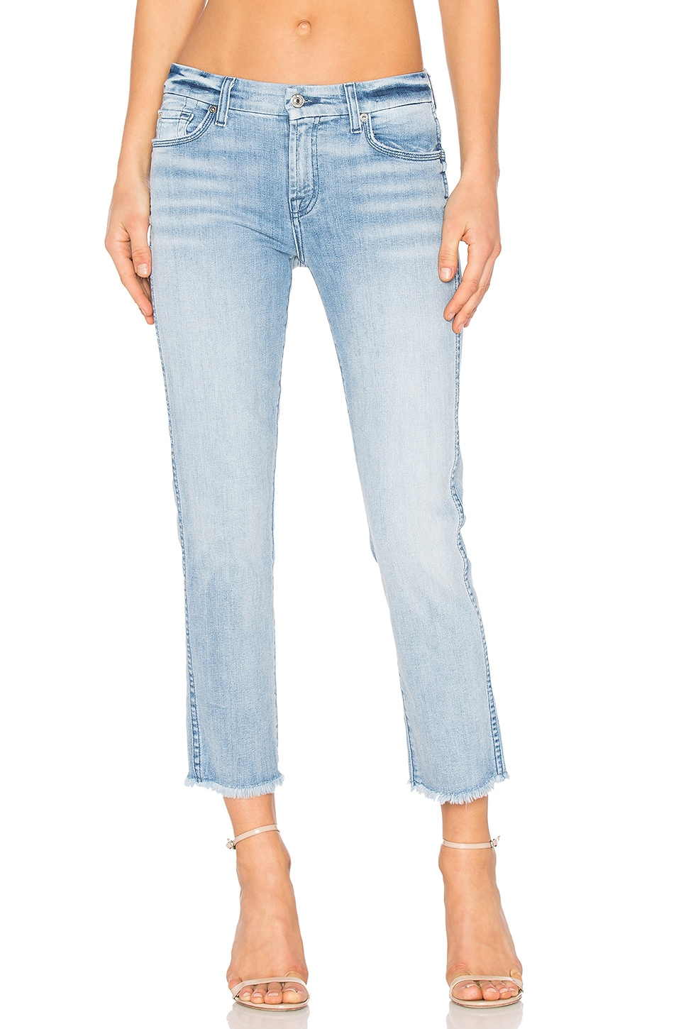 7 For All Mankind Distressed Unfinished Hem Ankle Straight in Bright Bristol