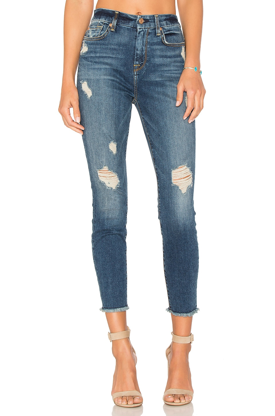 7 For All Mankind High Waist Ankle Skinny in Serratoga Bay 2