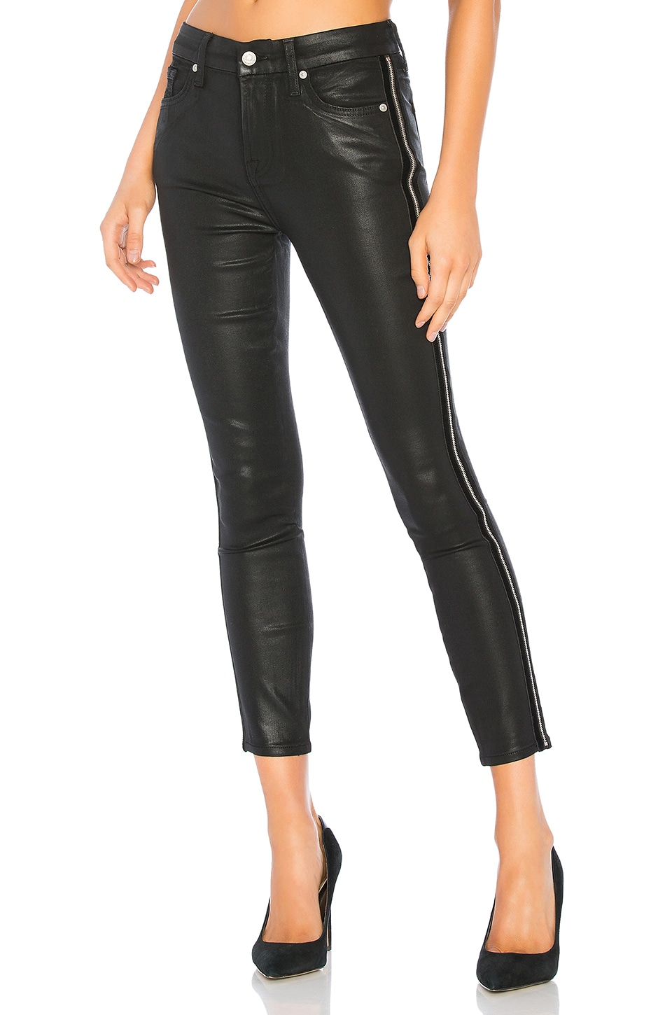 7 For All Mankind High Waist Ankle Skinny in B(air) Black & Velvet