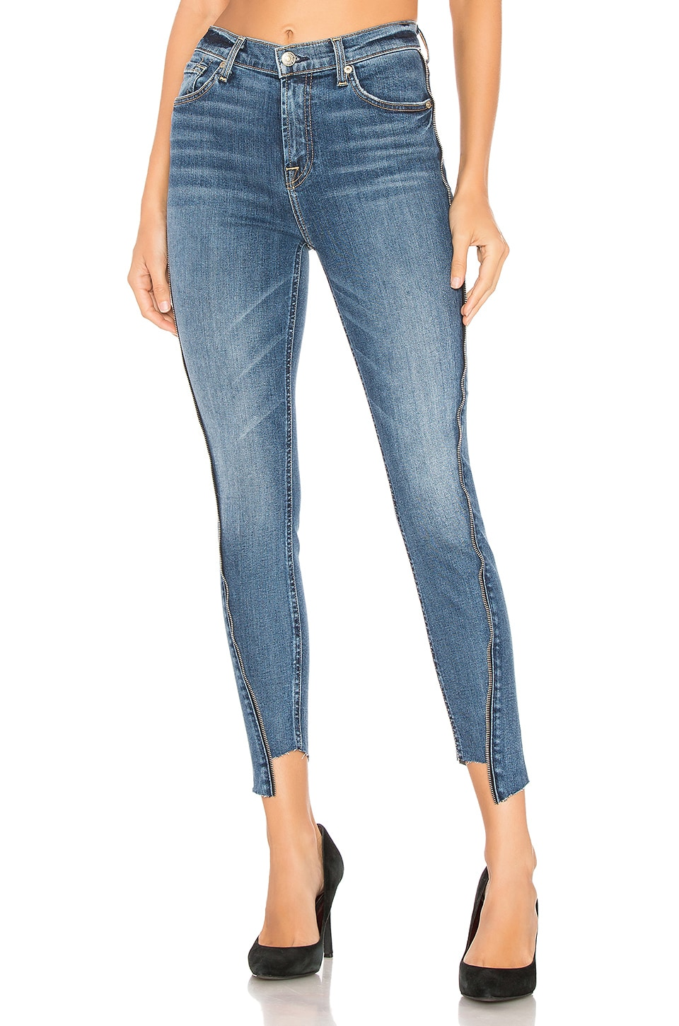 7 For All Mankind High Waist Ankle Skinny With Zippers in Canyon Ranch