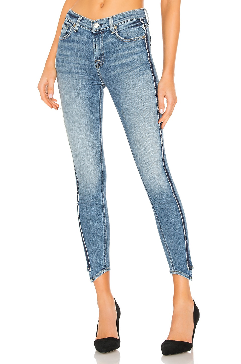 7 For All Mankind Frayed Hem Ankle Skinny in Muse