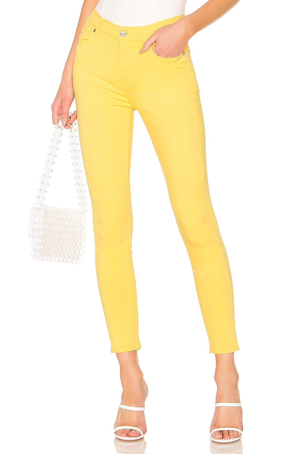7 For All Mankind High Waist Ankle Skinny in Dandelion