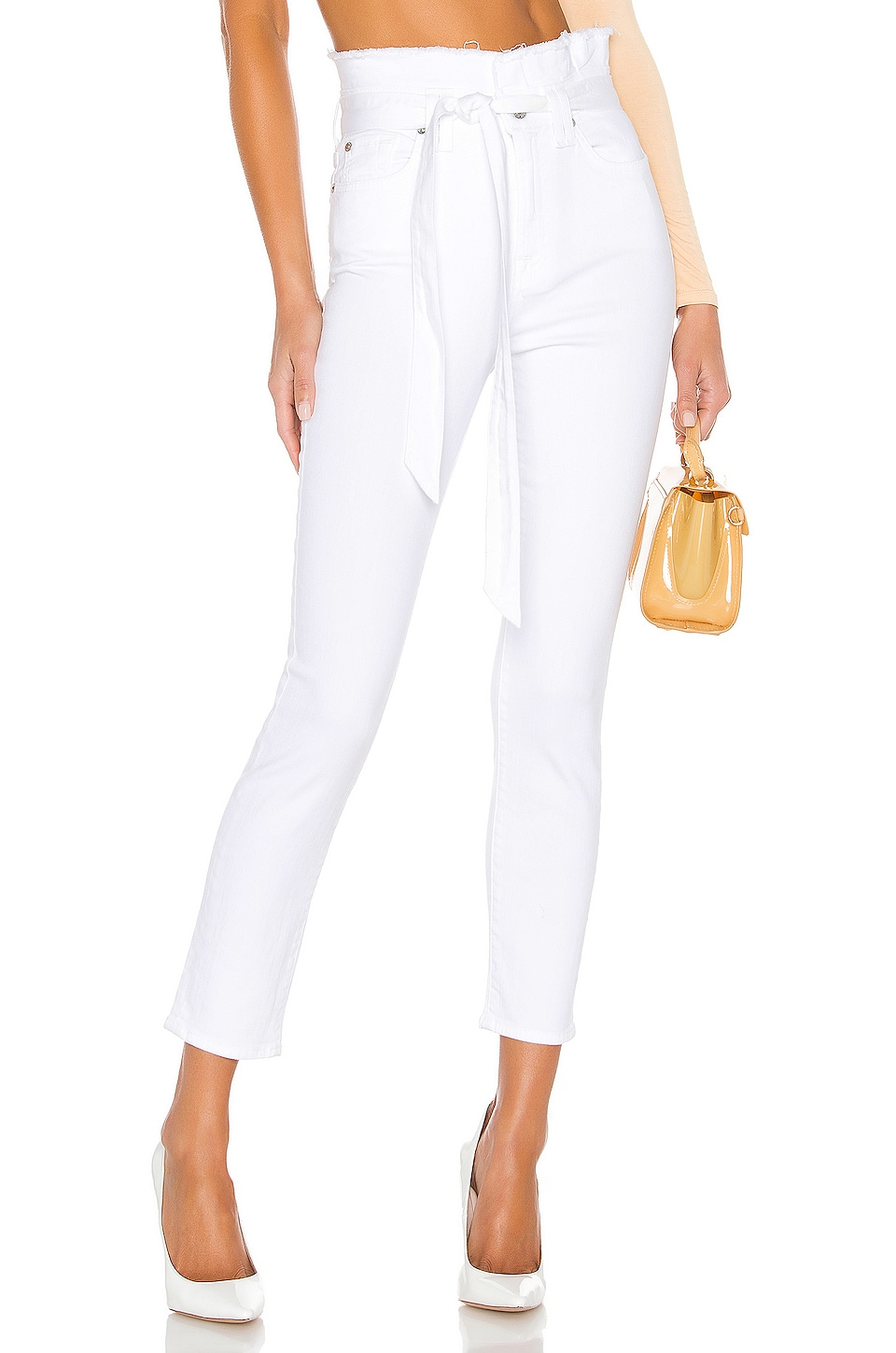 7 For All Mankind Paperbag Waist Pant in White Runaway